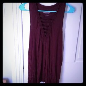 Wine tank top with v shaped neckline